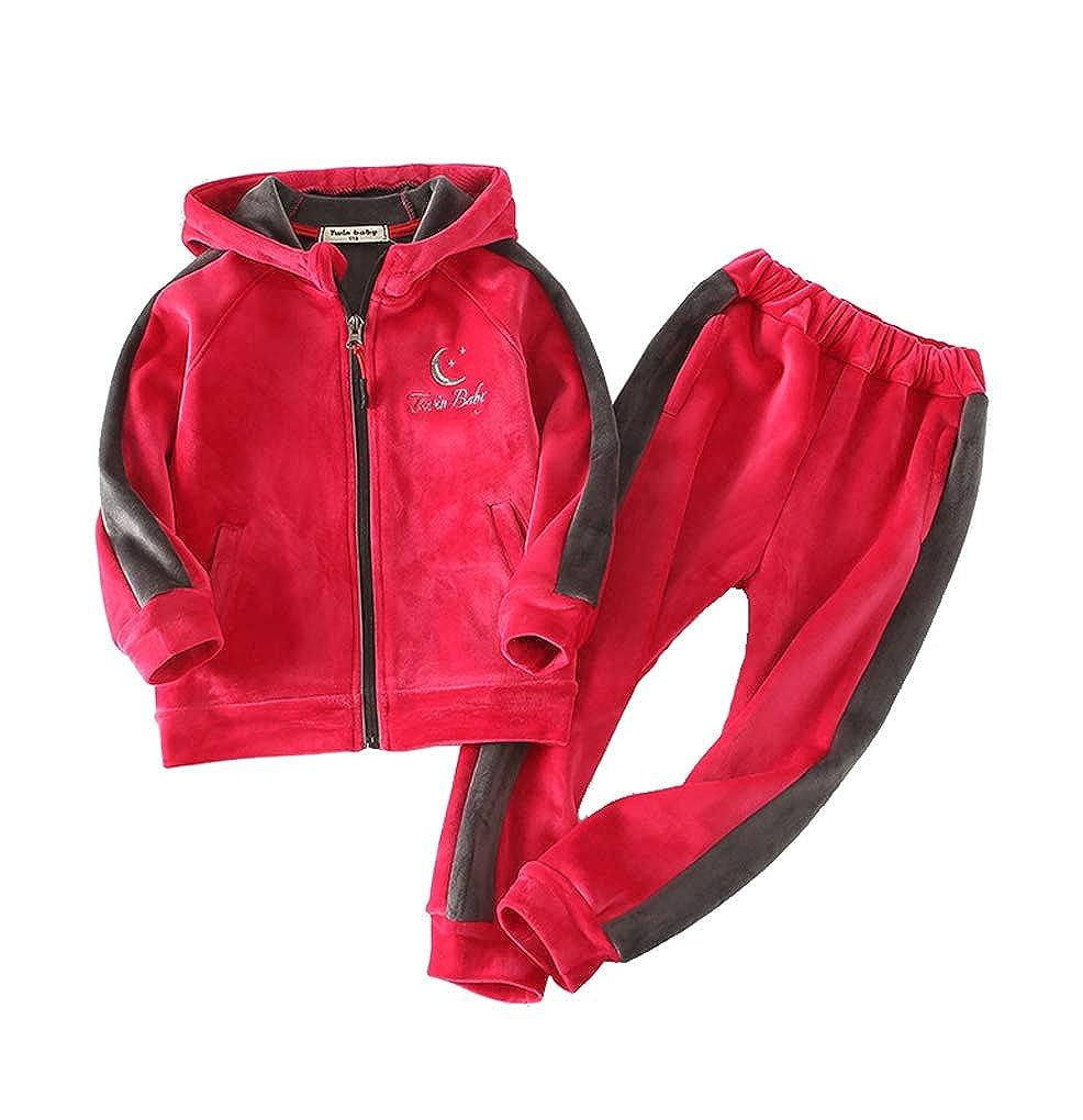 Little Boys Girls 2 Piece Fleece Hoodie Winter Zip Sweatshirt Pants Outfit Set