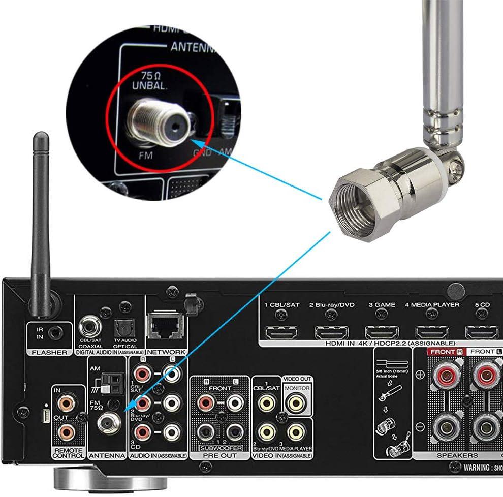 74cm Teleskop Antenne Ersatz F Stecker DAB UKW Radio FM AM Auto Audio DE