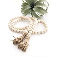 VOSAREA Wood Bead Garland Farmhouse Beads with Tassel Wall Hanging Prayer Beads Rustic Country Beads Decor