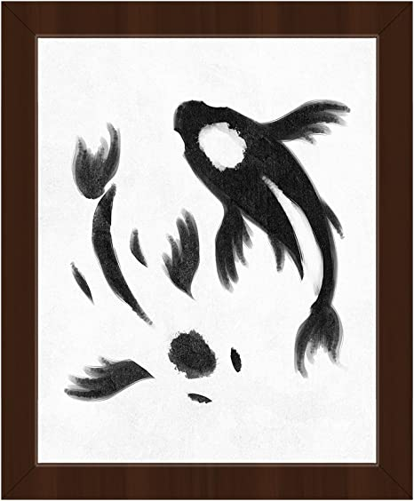 Amazon Com Yin Yang Koi White Delicate Painting Of Goldfish In Black On White Wall Art Print On Canvas With Espresso Frame Posters Prints
