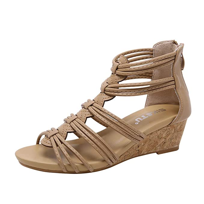 ad5a9b0b21134 Amazon.com: Claystyle Women's Ankle Strap Low Wedge Sandals Flat ...