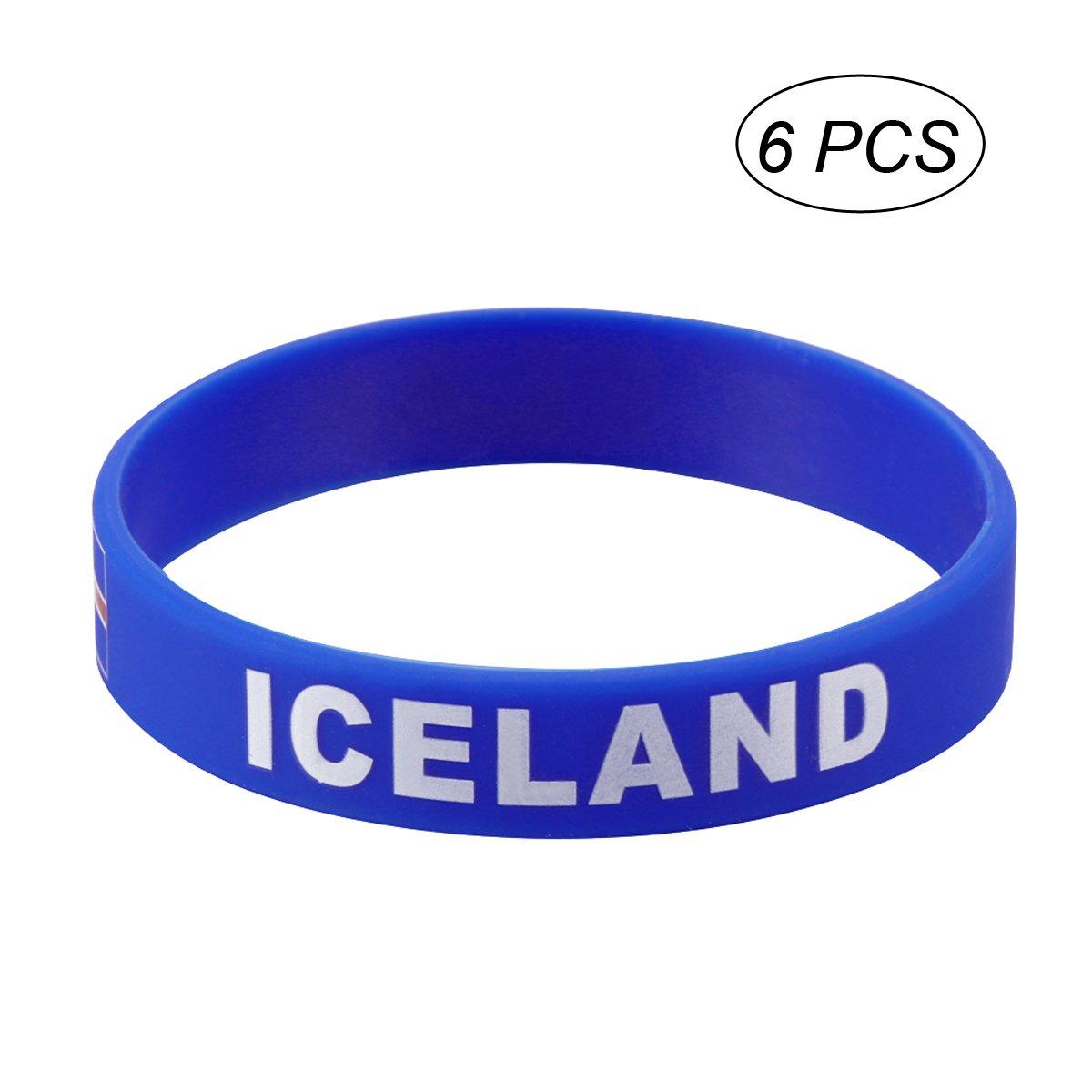 LUOEM Silikon Armb/änder WM Flagge Fahne Island Land Armband Fanartikel Fussball 2018 WM 6 St/ücke Iceland
