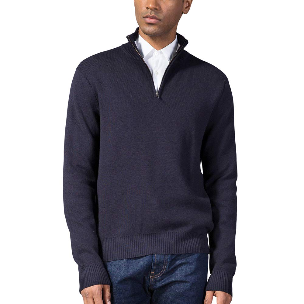 Kallspin Men's Relaxed Fit Solid Quarter Zip Sweater Pullover with YKK Zipper