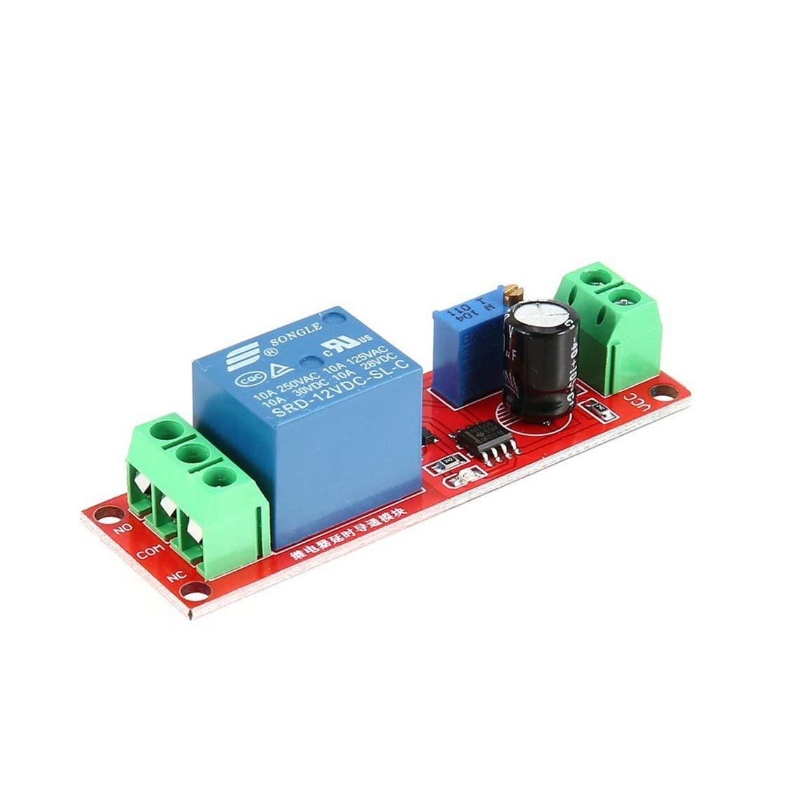 DC 12 V NE555 Retardo monoestable Rel/é Circuito M/ódulo Conductor Interruptor Temporizador Ajustable Time Shield Electr/ónica Arduino
