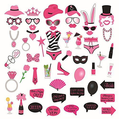 Funny pink photo booth props DIY Kit - Perfect for Wedding Birthday Bachelorette Hen Night Party Supplies - 56 PCS - Large (Funny Photo Booth Ideas)