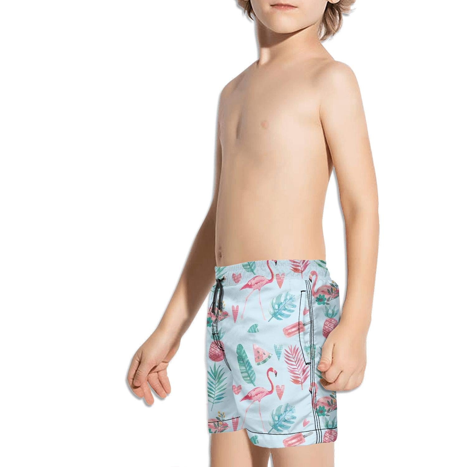 Etstk Pink-Flamingo Kids Comfortable Swim Trunks for Men