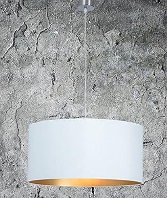 Hochwertige Hängelampe | Hängeleuchte Aus Chintz Stoff | Weiß Gold | XXL |  Pendelleuchte | Lampe