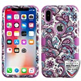 iPhone X Case, Mybat European Flowers Dual Layer [Shock Absorbing] Protection Hybrid PC/TPU Rubber Case Cover For Apple iPhone X, Purple