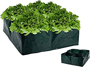 Ymeibe Raised Garden Planter Fabric Bed 4 Divided Grids Square Planting Bag Grow Pot for Outdoor Carrot Onion Herb Flower Vegetable Plants (1 Pack)
