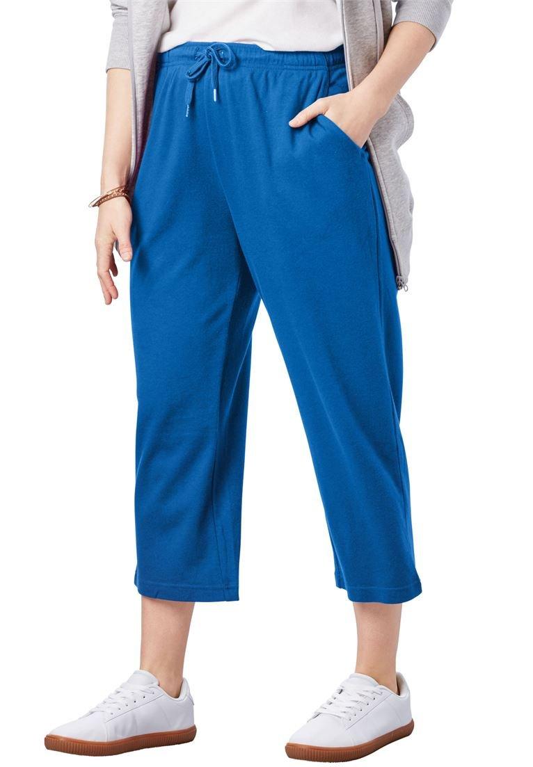 Women's Plus Size Sport Knit Capri Pant Bright Cobalt,1X