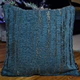 McAlister Textured Chenille 24″ Decor Pillow Cover | Denim Blue Zip 24×24 Euro Sham Case | Soft Chenille Velvet Linen | Metallic Modern Rustic Accent For Sale