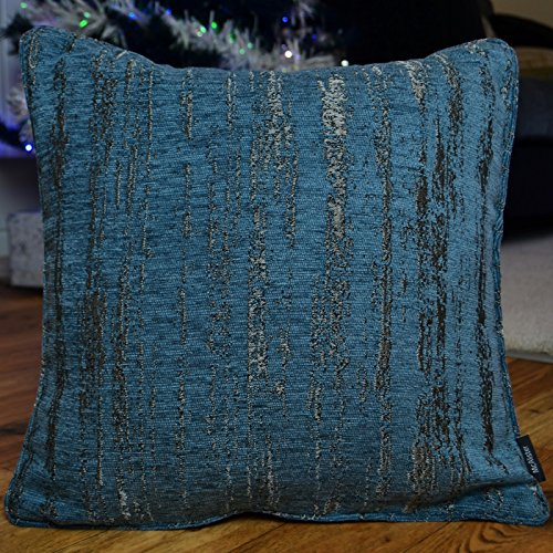 McAlister Textured Chenille 24″ Decor Pillow Cover | Denim Blue Zip 24×24 Euro Sham Case | Soft Chenille Velvet Linen | Metallic Modern Rustic Accent For Sale