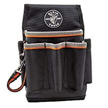 Klein Tools 5241 Tradesman Pro Tool Pouch with Electrical Tape Thong and Heavy Duty Reinforced Bottoms, 6-Pocket