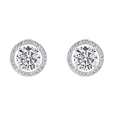 da3a8ed9b Cate & Chloe Ariel 18k White Gold Plated Halo CZ Stud Earrings, Silver  Simulated Diamond