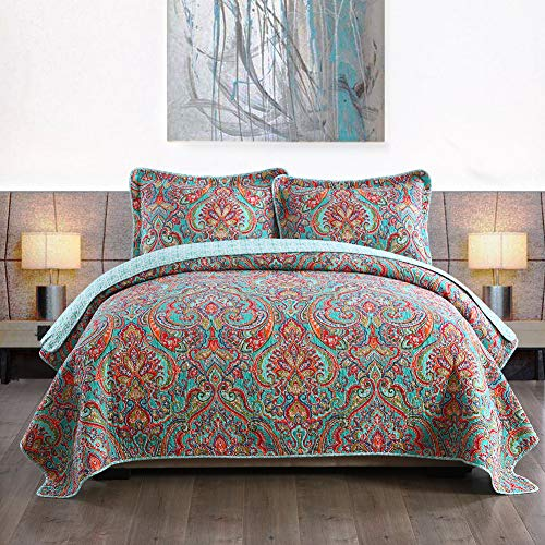 NEWLAKE Cotton Bedspread Quilt Sets-Reversible Patchwork Coverlet Set, European Gorgeous Floral Pattern, Queen Size