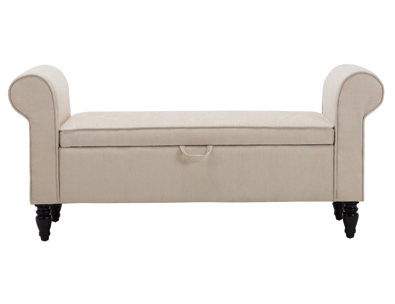 Modern Fabric Storage Bench with Arms Button Tufted Footstool Ottoman Bench for Living Room Bedroom Light Beige