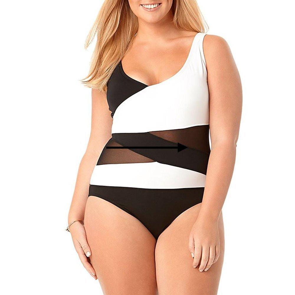 Wenly zeng Women's Plus Size One Piece Swimwear Asymmetric Spliced (1X, Black)