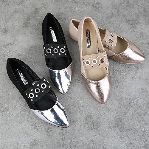 &huo Zapatos planos puntiagudos, zapatos de ballet, remaches zapatos de boca superficial, zapatos salvajes temperamento de la moda 39