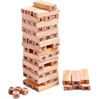 Happy GiftMart 54 Pcs Jenga Wooden Tumbling Stacking Building Tower Blocks Mini Junior with Numbers Math and 4 Dice (54 Pcs Numbered)