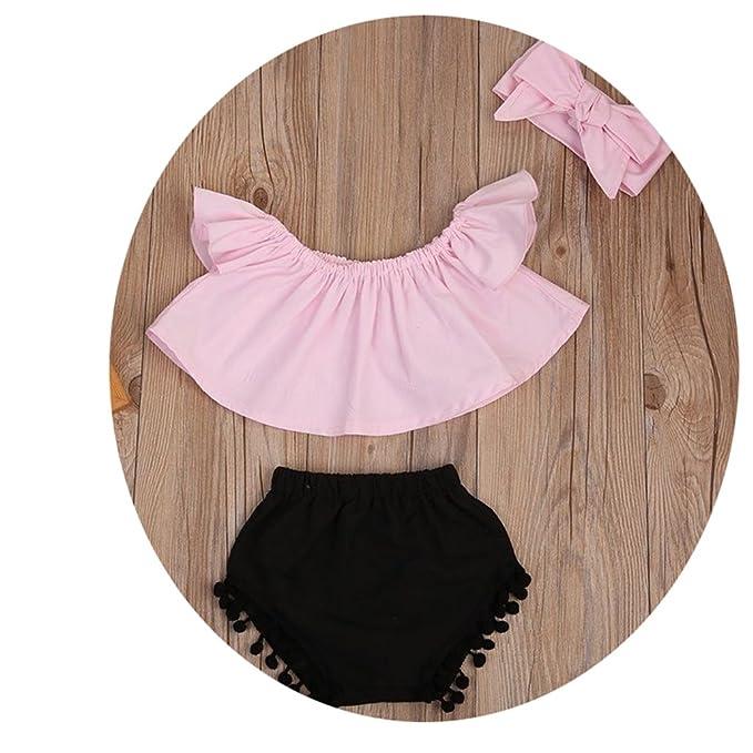 2cae48eb8e36 Amazon.com  3PCS Summer Cute Baby Girls Fashion Outfit Newborn Baby Girl  Clothes Set Off Shoulder Top T-Shirt+Shorts Pants  Clothing