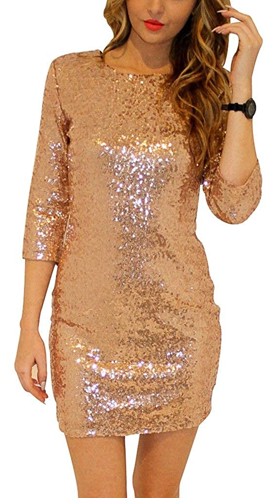 Insia Brand Women's (3/4) Long Sleeve Mini Bodycon Sexy Sequin Party Dresses