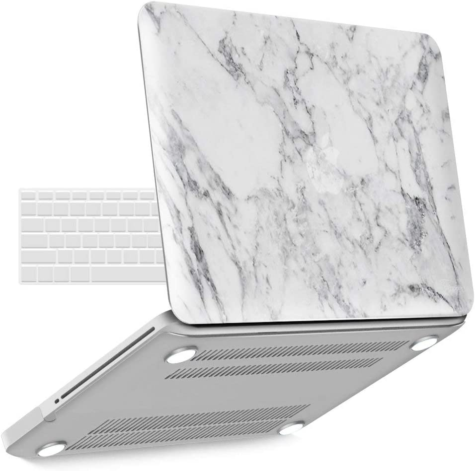 IBENZER MacBook Pro 13 Inch case A1278 Release 2012-2008, Plastic Hard Shell Case with Keyboard Cover for Apple Old Version Mac Pro 13 with CD-ROM, White Marble, P13WHMB+1A