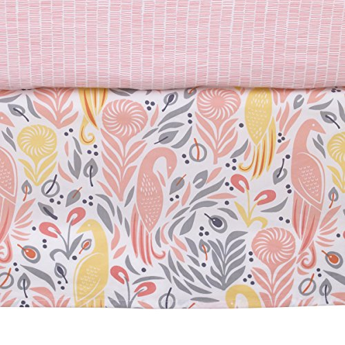 Dwell Studio Boheme Peacock/Floral Print Crib Skirt, Peach/Gold/Gray from Dwell Studio