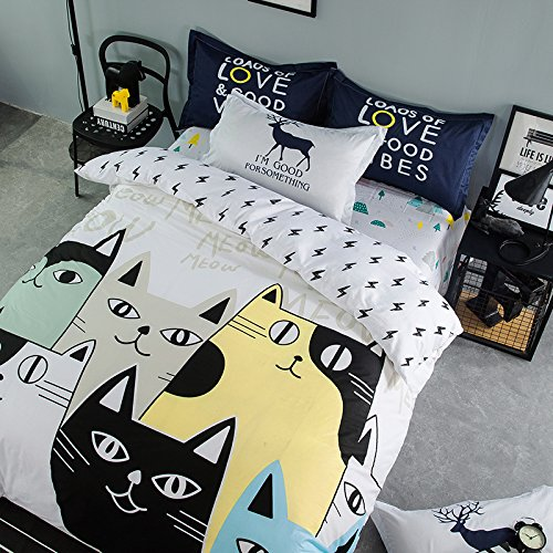 TheFit Paisley Textile Bedding for Teenager Girls and Boy U703 White Town of Meow Cat Duvet Cover Set 100% Cotton, Twin Queen King Set, 3-4 Pieces (Twin) by TheFit (Image #3)