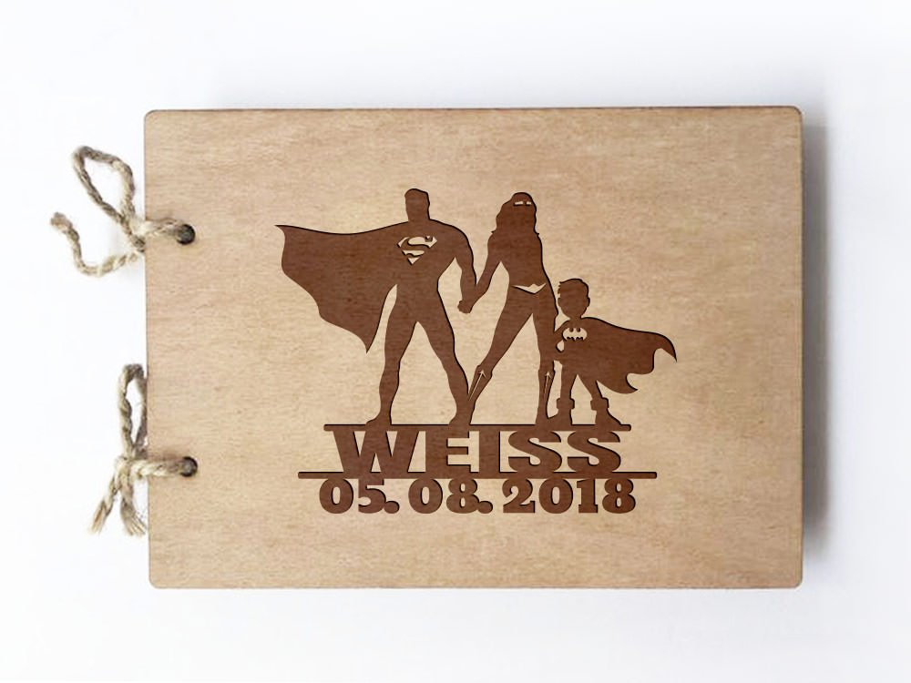 Wedding guest book - Notebook - inspired by Superman and Wonder woman + bat boy