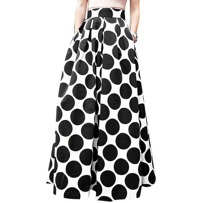 Mujer Vintage Faldas Largo Talla Grande Retro Impresión de Lunares ...