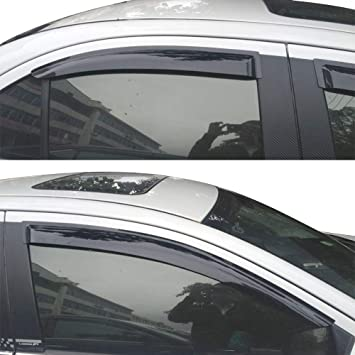 Smoke Tinted Acrylic 4 Pieces Vent Shades Free-Motor802 Compatible with 2000-2006 Toyota Tundra Extended Cab Tape on Window Visors