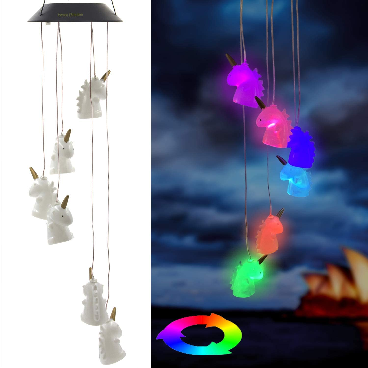 Eleven Direction Solar Wind Chimes,Color Changing Unicorn Solar Lights,Decoration for Lawn Patio Yard Garden Bedroom Outdoor