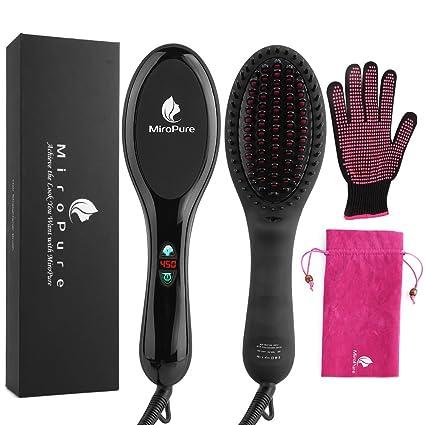 2 en 1 ionischer plancha para el pelo cepillo de pelo con calor beständigen Guantes para