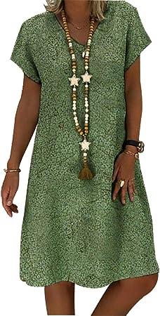 RENJIANFENG Vestido Boho para Mujer Vintage Étnica Verano Algodón ...