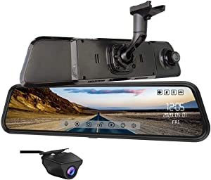 NikoMaku Mirror Dash Cam Front and Rear Backup Camera 12 Inch Screen for Cars Super HDR Full Touch Screen Rear View Mirror Camera 170° Wide Angle Dual Lenses Waterproof AS4 Max