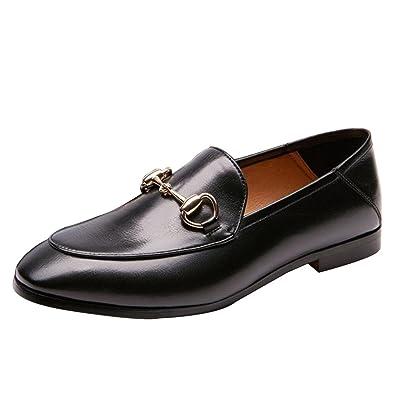 cbabb178eaa5d5 Vogstyle Mocassins Femmes Cuir à Boucle Derbies Chaussures Plates Noir  EU39//CH40
