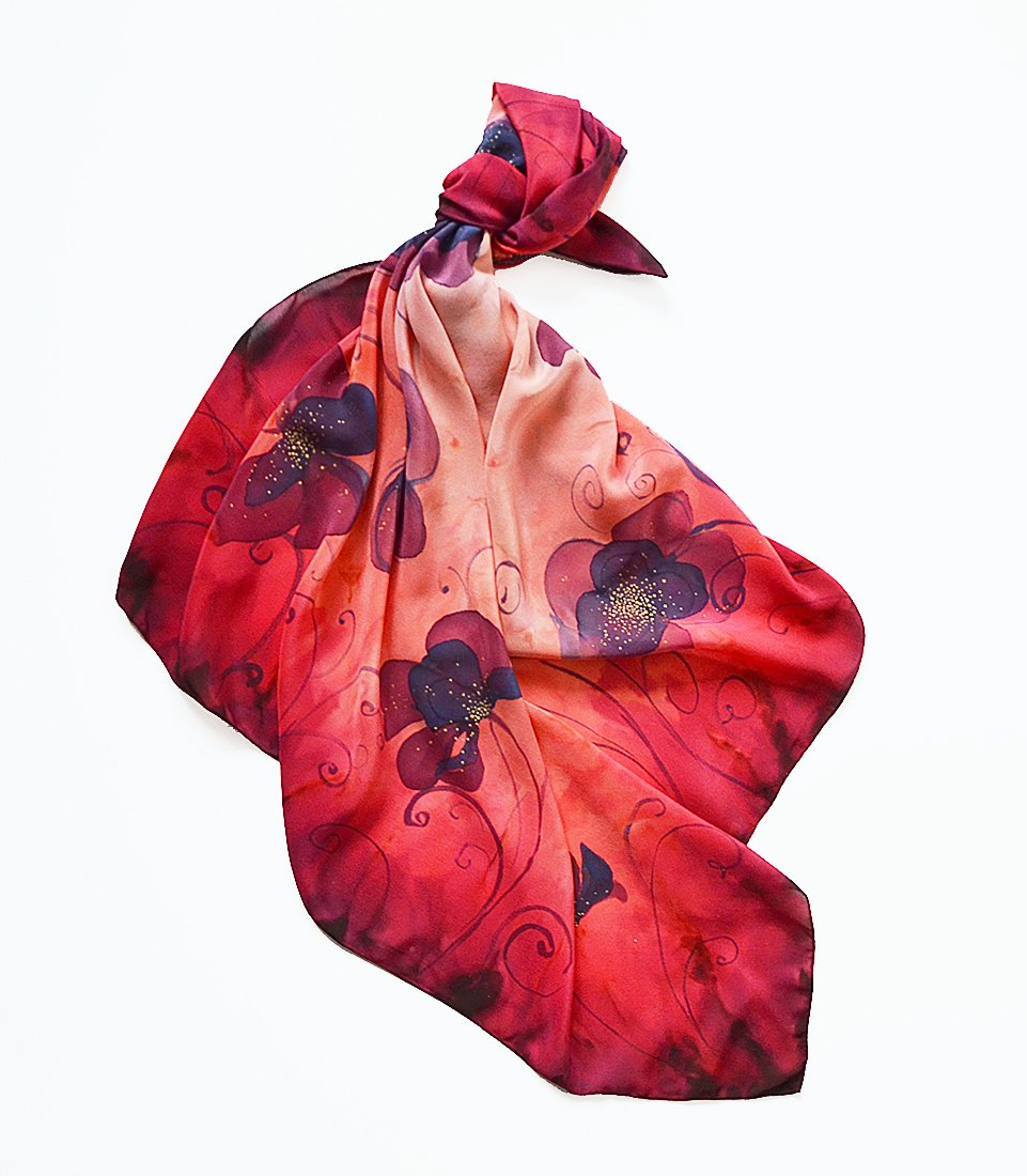 Floral Silk Scarf Hand Painted In Red Burgundy. Square Neck Shawl For Women, Size 35x35 inches, One Of A Kind Handmade Gift For Her