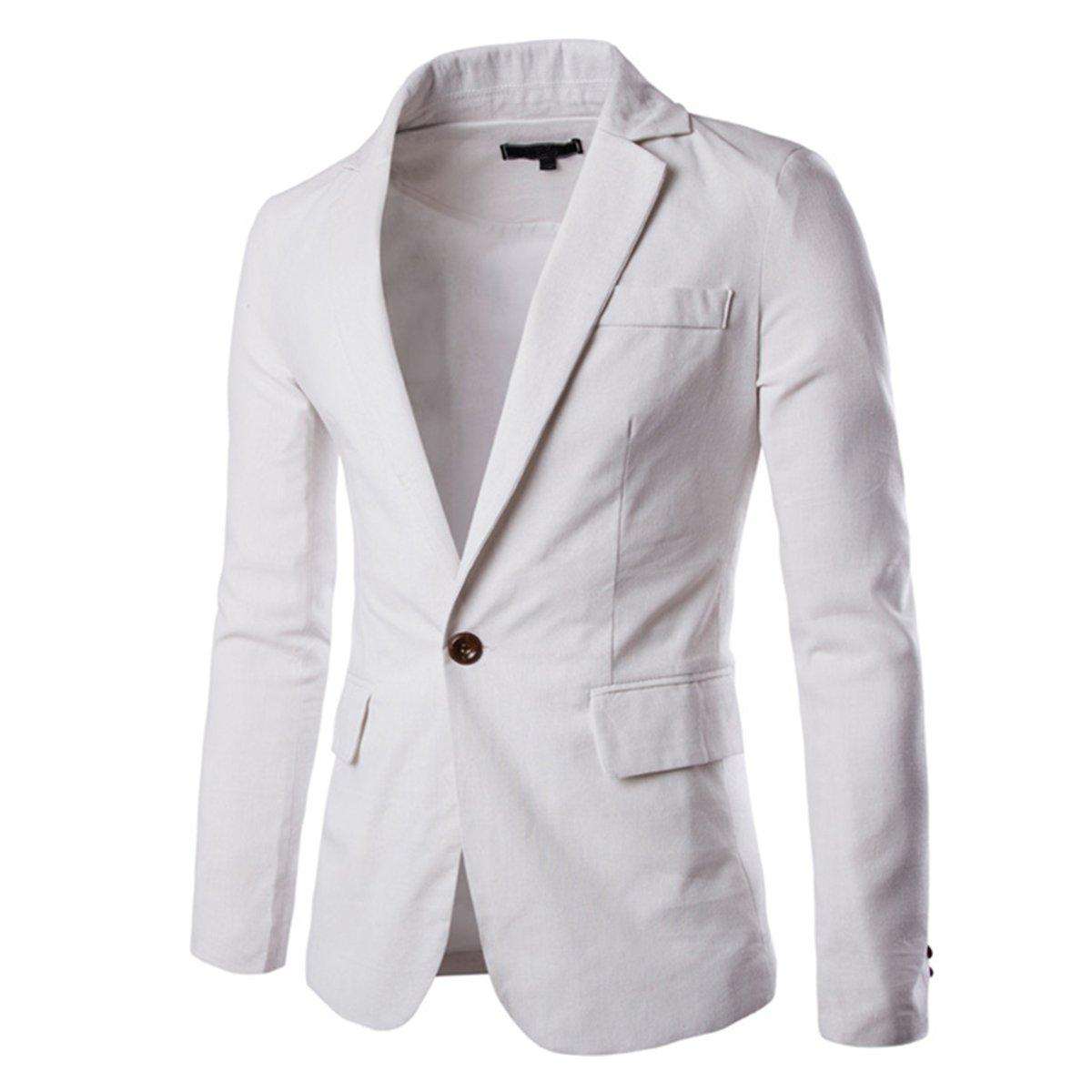 Pishon Men's Linen Blazer Lightweight Casual Solid One Button Slim Fit Sport Coat, White, Tag Size XL=US Size S