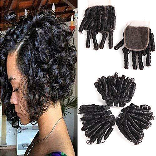 PANEWAY 10A Brazilian Spring Curl Weave Human Hair 3 Bundles Virgin Romance Bouncy Curls Human Hair Weave Unprocessed Funmi Hair Extensions 50g/pc Full Head Natural Color (bouncy curl 10 10 10+8)