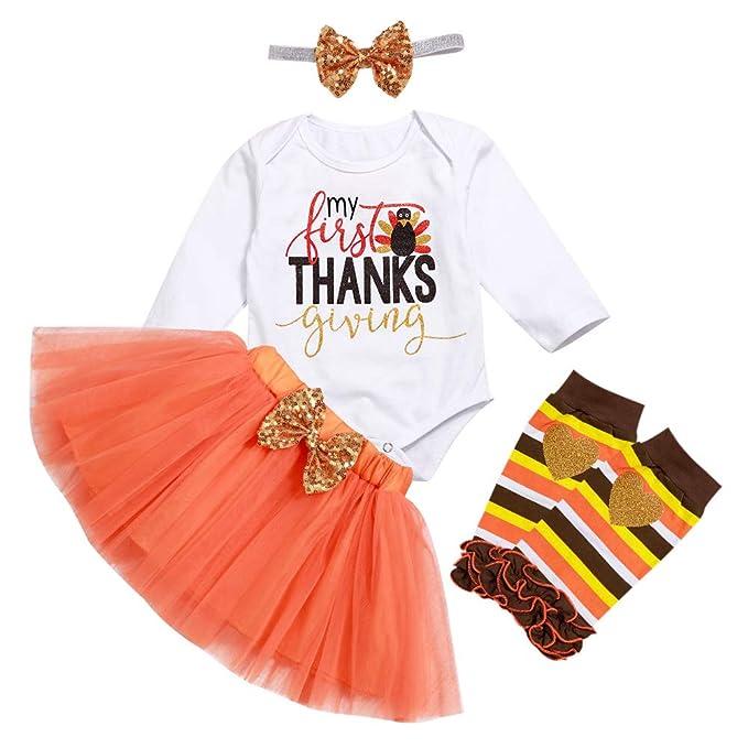 Amazon.com: Traje de Acción de Gracias Bebé Niña Mi primer ...