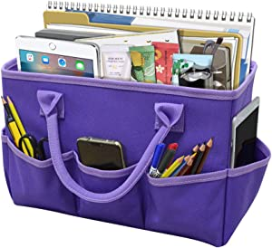 Godery Desktop File Folder Tote and Stock Organize, Fundamentals Art Organizer Storage Craft Tote Bag for Office Desk Organize, Make-up Storage Tote with Handles for Travel or Daily Use, Purple Edge