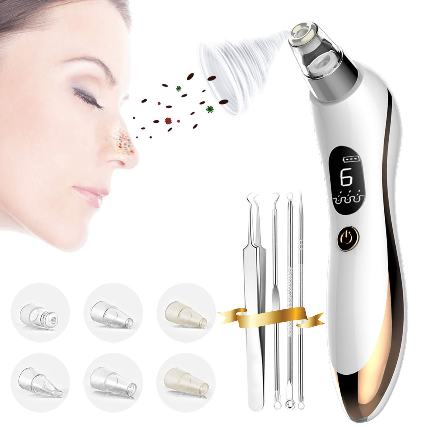 6 Levels Pro Blackhead Remover Vacuum- Strong Suction Pore Cleaner for Nose, Ear, Face, Skin Acne Pimple w/Removal Tool (Tweezer, Needle Kit), Electric, USB Rechargeable, Led Screen, Men, Women, Gold