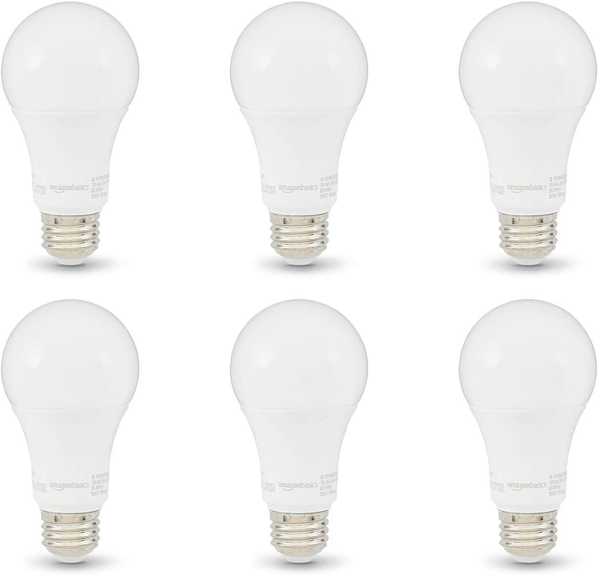 Amazon Basics 100w Equivalent Soft White Non Dimmable 10 000 Hour Lifetime A19 Led Light Bulb 6 Pack