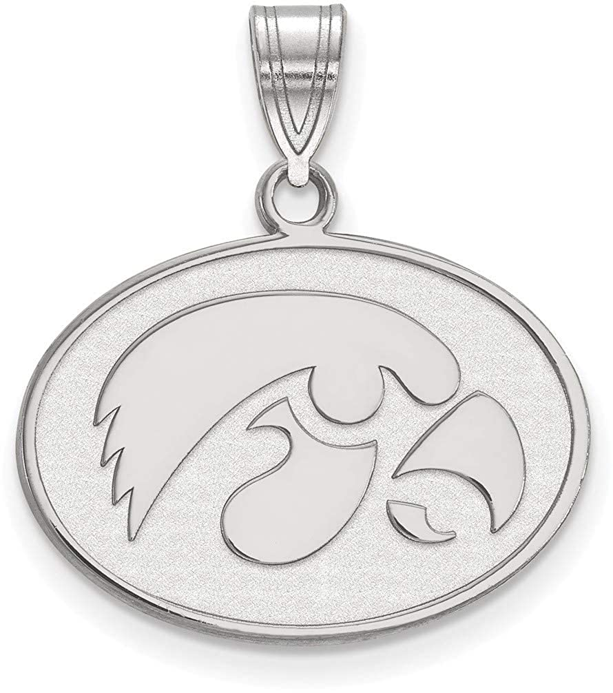 SS045UIA Sterling Silver University of Iowa Medium Pendant by LogoArt