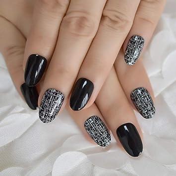 EchiQ - Juego de 24 puntas de uñas postizas de color negro ...