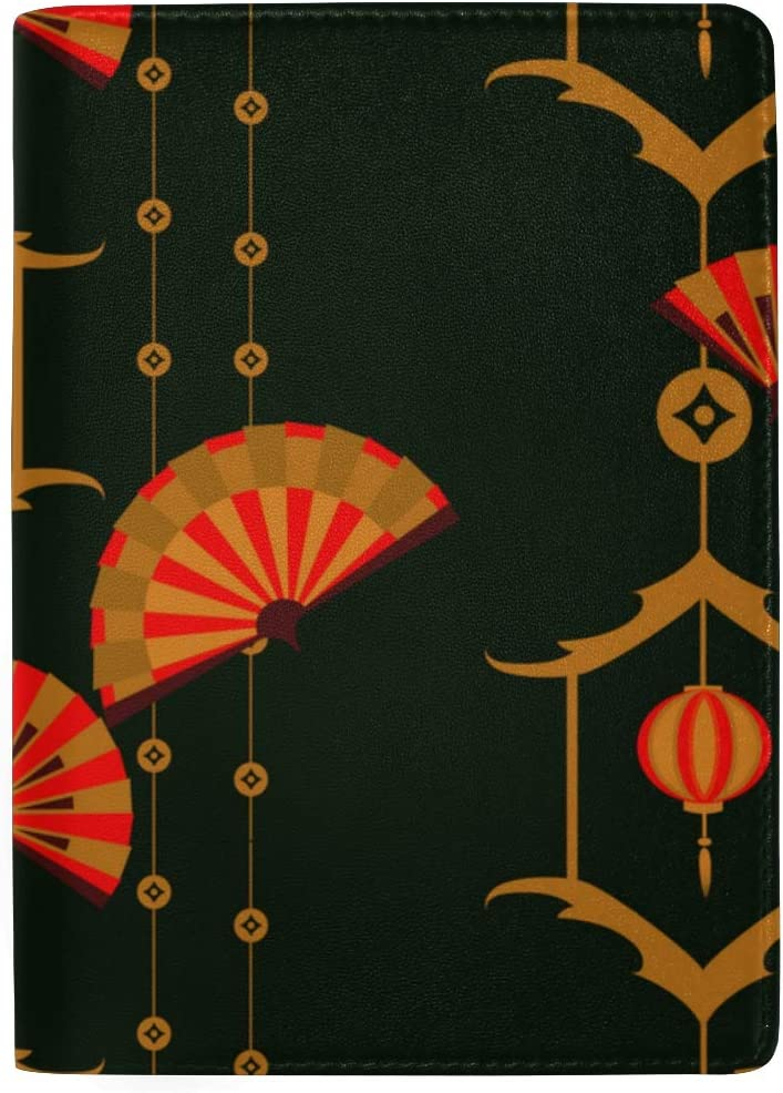Passport Cover For Kids Asian Style Holiday Blessing Fan Stylish Pu Leather Travel Accessories Passport Covers For Women Men