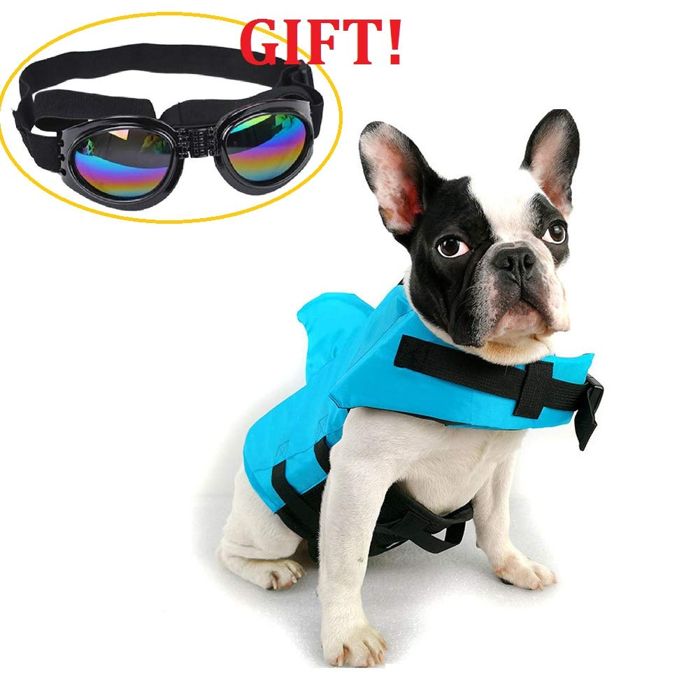 CheeseandU Dog Life Jacket Shark, Pet Swimming Vest Jacket- Adjustable Preserver Coat Jacket with Free Pet UV Goggles Sunglasses Gift for Small Medium Dog Puppy Doggie Surfing Boating