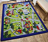 5x7 New Kids Boys Children Toddler Playroom Nursery Room Bedroom Fun Educational Game School Cars Street Map Toys Traffic Area Rug Carpet Colorful Decorative Designer Sale Discount ( Green City Map )