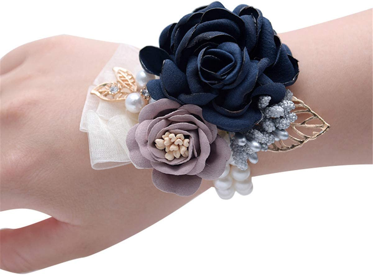 White and Blue Flowers Silk Corsage and Boutonniere Set-Prom Corsage Flowers-Prom Accessories-Brooch Corsage Bracelet-Wedding Bridal Set