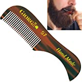 """Giorgio G57 2.75"""" X-Small Men's Fine Toothed Beard and Moustache Combs Pocket Size for Facial Hair Grooming. Hand-Made of Quality Cellulose, Saw-Cut & Hand Polished. (1 Pack, Tortoise)"""